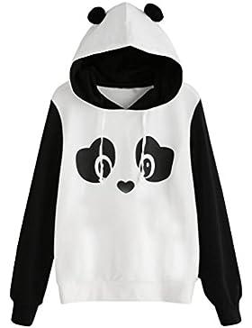 Koly Panda mujeres Jersey blusa sudadera con capucha de bolsillo de impresión Gato Sudaderas con Capucha Mujer...