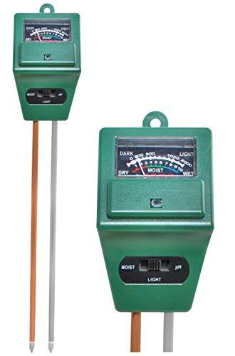 Iso Trade 3 in 1 Bodentester PH Wert Messgerät Feuchtigkeitsmesser Licht Indoor Outdoor 8692