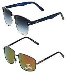 Vast Combo UV Protection Clubmaster And Polarized Unisex Sunglasses (GLDMIRROR_CMSILBLUE)