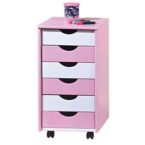 Rollcontainer pink weiß rosa Kinderzimmermöbel Container Kindermöbel Rollwagen (Rosa Rollwagen)