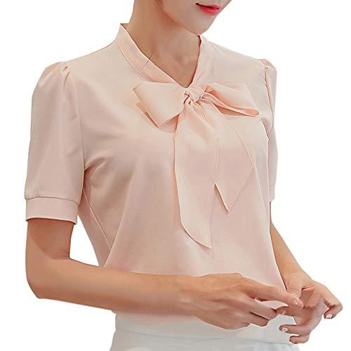 IMJONO Frauen T-Shirt 2019n, Frauen Sommer Arbeit Büro Kurzarm Fliege Solide Chiffon Bluse T-Shirt Top(Rosa,Medium) -