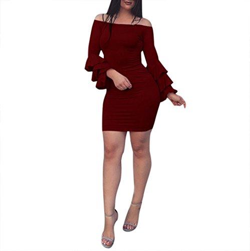 Longra Damen Sexy Kleider Elegant Etuikleid Bodycon Tunikakleid Pencil Kleider Festliches Kleid Knielang Damen Schulter Abendkleid Cocktailkleid Minikleid (Wine red, S) (Drop-front-tank)