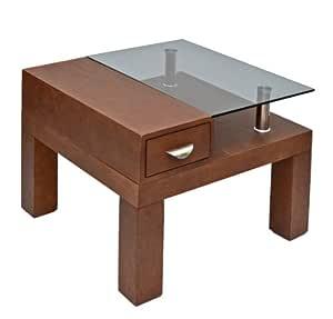 TS-Ideen 8825 - Tavolino da Soggiorno in Legno e Vetro ...