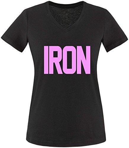 EZYshirt® Iron Damen V-Neck T-Shirt Schwarz/Rosa