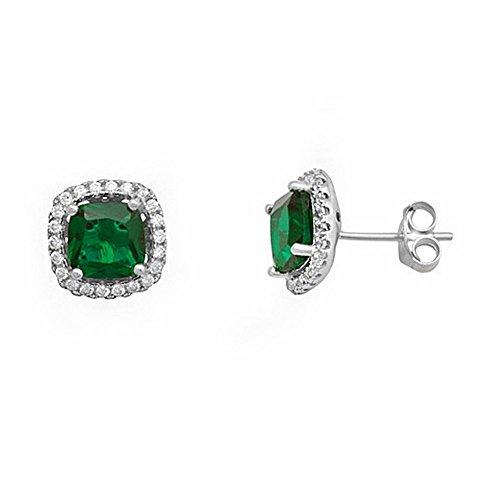 Rodiada 925m orecchini in argento legge 5 millimetri smeraldo pietra [AA1434] - 5 Orecchini Di Pietra
