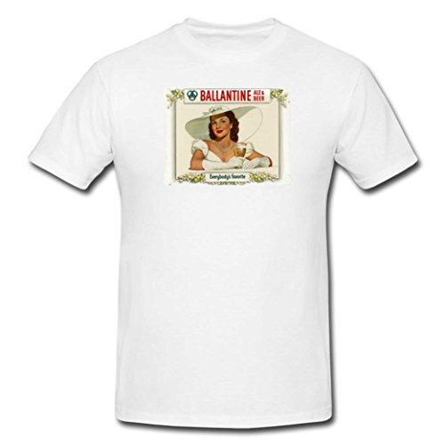 Coole Designer T shirt top pin up girl Ballantine ale and beer everybody's favorite shabby chic