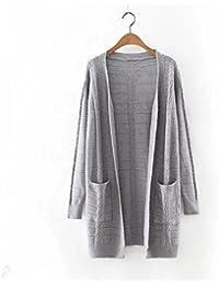 Ladies 'moda Color sólido Cardigan Sweater