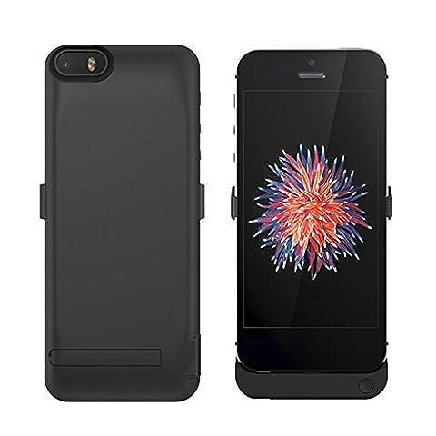 iPhone 5 5S 5C SE Akku Hülle LifeePro 4200mAh Ultra Dünn Externer Akku Case Aufladbar Batterie Ladehülle Integrierten Ersatzakku Ladegerät Power Bank Backup Extra Pack Schutzhülle für iPhone 5 5S 5C SE Schwarz