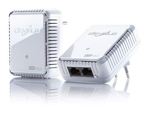 devolo dLAN 500 duo Starter Kit Powerline (500 Mbit/s Internet über die Steckdose, 2x LAN Ports, 2x Power Line Adapter, PLC Netzwerkadapter) weiß - Schweizer Stecker