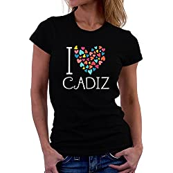 Camiseta de mujer I love Cadiz colorful hearts
