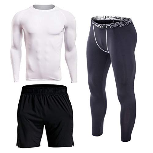 YiiJee Herren 3 Stücke Sport Anzug Fitness Gym Yoga Kompressionsshirt Schnelltrocknend Jogging Hose Kurze Hose Als Bild5 L - Drei Stück Anzug Herren-anzüge