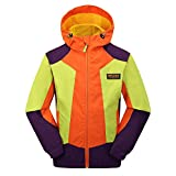 MFLEER Kinder Outdoor Jacke Wasserdicht Winddicht Atmungsaktiv Funktionsjacke Regenjacke Windjacke Jungen Mädchen Trekkingjacke Wanderjacke Orange 140