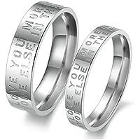 jsfyou 2pezzi argento lucido acciaio inossidabile fidanzamento