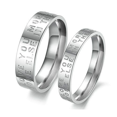 jsfyou 2pezzi argento lucido acciaio inossidabile fidanzamento matrimonio anniversario promessa anello a fascia da donna, donne dimensione 13,5 & uomini dimensione 19,5, colore: Silver, cod. JSF1005R