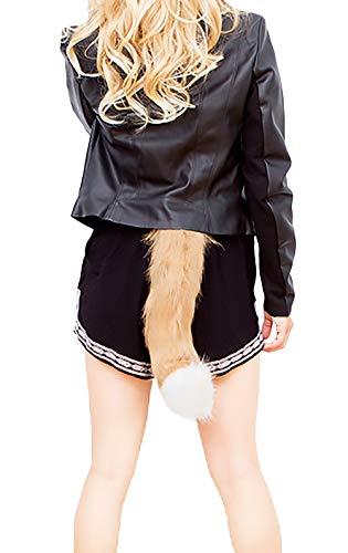 ween Kostüm Fuchs Schwanz Einstellbar Unique Stilvolle Unikat Synthetisch Pelz Schweifanhänger Cosplay Outfit (Color : Khaki, Size : One Size) ()
