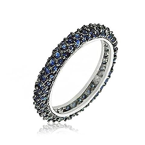 Bling Jewelry Sterling Silber ebnen simulierten Sapphire CZ Stapelbar Ring