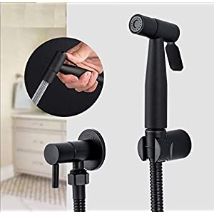 Negro Bidet Rociador de inodoro Higiénico Grifo de la ducha Bidé Baño Ducha de mano Montaje en pared Accesorios de baño…