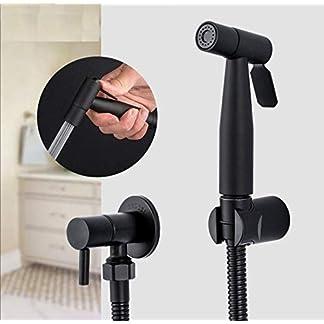 Negro Bidet Rociador de inodoro Higiénico Grifo de la ducha Bidé Baño Ducha de mano Montaje en pared Accesorios de baño Faucet Y50057