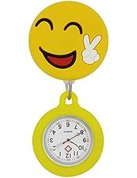 Collection&Joy Reloj de Bolsillo para Trabajadores Sanitarios con Cara Sonriente, Amarillo