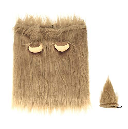 Wokee Löwenmähne + Tail Set, Hut Katze Hund Kleid Gefälschte Hundekostüm Löwenmähne für Hunde mit Geschenk (Kaffee, S,lang,13 Zoll)