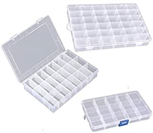 Bulfyss Jewellery Case Organiser with Adjustable Dividers 15/24/36 Grid, Transparent(Pack of 3)