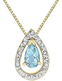 Carissima Gold Damen-Kette 375 1.61.994T Rundschliff Blau Topas 9 mm