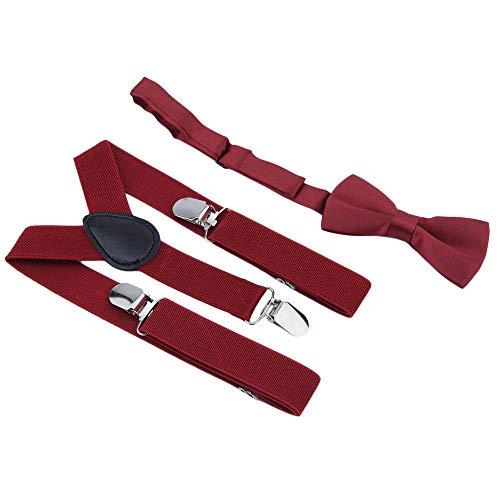 Erduo Verstellbare und elastische mit Metall Clips Polyester Kinder Design Hosenträger und Bowtie Fliege Set passende Krawatten Outfits Polyester Bowties