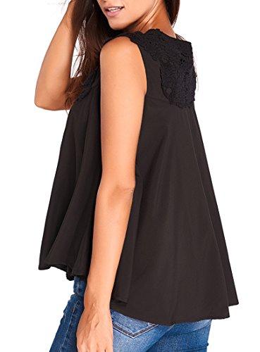 Maglia donna blusa scollata ricamata sexy elegante casual senza maniche Nero