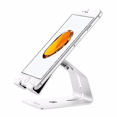 iPhone 8 XHandy Halterung, EasyAcc iPhone Dock handy halterung handy Tablet Aluminium Hater für iphone 7s 8,Samgung s8 s7 plus note 8 und alle Tablets eBook-Reader handy Zubehör,Schreibtisch,Smartphone 4-10.1Zoll Geräte-Schwarz