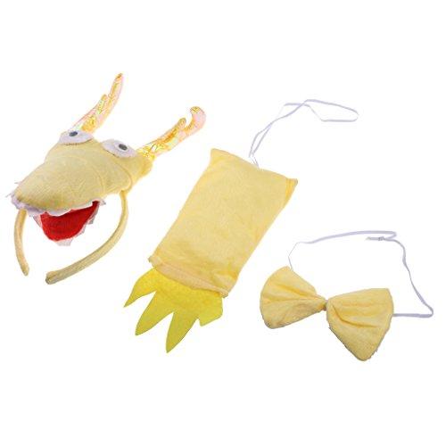 tüm Set - Haarreif, Fliege und Schwanz, Kinder Kostüm für Fasching Karneval Party (Drache-fliegen-kostüm)