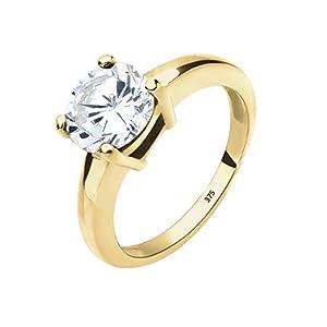 Elli Premium Damen Ring 375 Gelbgold 925 Sterling Silber Zirkonia