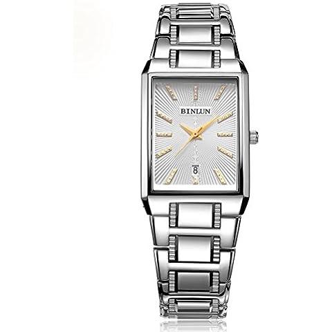 binlun bl0057mw hombre UltraPlate reloj de pulsera de cuarzo japonés forma de rectángulo–grosor 9mm