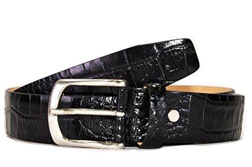 Cintura Uomo -OAKS- Colore Nero, Pelle, stampa Cocco, Fodera Pelle, Prodotto Artigianale 100% Made in Italy