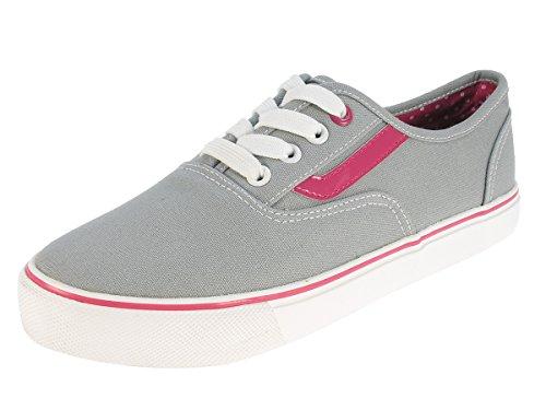 Beppi Damen Stoffschuhe Leinenschuhe Sommerschuhe Sneaker Canvas Segelschuhe Freizeitschuhe Turnschuhe geschnürt Grau Grey