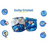 Superbottoms Cloth Diapers Plus Reusable All in One Diaper with 2 Organic Cotton Soakers and Dry Feel - Gully Cricket