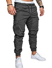 SOMTHRON Homme Ceinture élastique à long coton Jogging pantalons de  survêtement Plus la taille Mode Sport 61790f54a3c