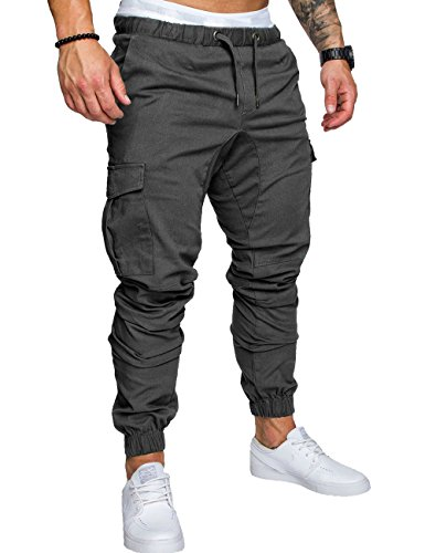 SOMTHRON Herren Elastische Taille Gürtel Baumwolle Jogging Sweat Hosen Plus Size Mode Lange Sports Cargo Hosen Shorts mit Taschen Joggers Activewear Hosen, Dark Grey, M -