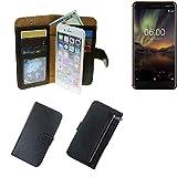 K-S-Trade Nokia 6.1 Schutz Hülle Portemonnaie Case Phone Cover Slim Klapphülle Handytasche Schutzhülle Handyhülle schwarz aus Kunstleder (1 STK)