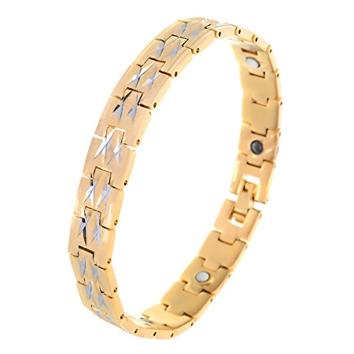 BeBold Bio Magnetic Gold Stainless Steel Latest Fashion Fashion Bracelet for Men Boys  available at amazon for Rs.469