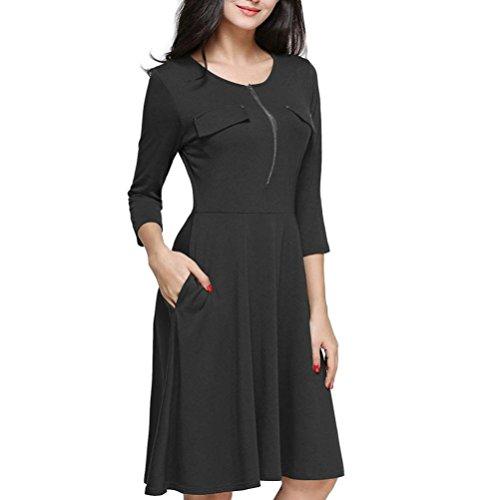Mujer vestido Otoño casual moda elegante 2018,Sonnena Vestido de fiesta casual con bolsillo y cremallera color sólido tres cuartos manga vestido de mujer moda fashion calle urbano