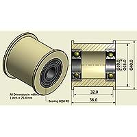 Pack de 4 x Nylon Cinturón Idler 40mm diámetro 32mm Groove 10mm Rodamientos Precisamente mecanizado en la UE (40-32-10)