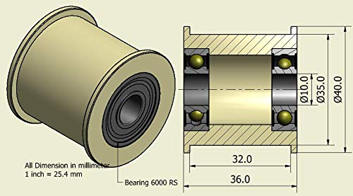 4Stück x Nylon Gürtel Faulenzer 40mm Durchmesser 32mm Groove 10mm Lager Präzise gefräßt in der EU (40–32–10)