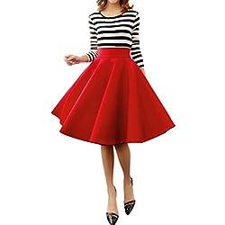 Minetom MujerES Niñas Elegante Afueras Rodilla Longitud Cintura Alta Minifalda Falda Plisada VEStidos Rojo ES 38