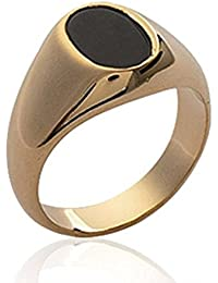 Isady - Marlon Gold - Men's Ring Ladies Ring - 18ct Yellow Gold Plated - Imit. Onyx Black