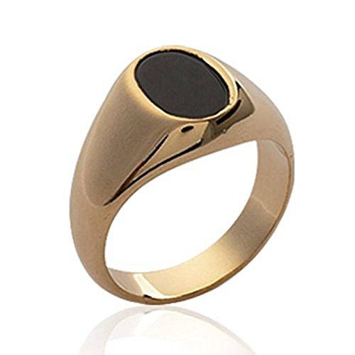 ISADY - Marlon Gold - Herren Ring Damen Ring Siegelring - 18 Karat (750) Gelbgold - Imit. Onyx Schwarz - T 48 (15.3)