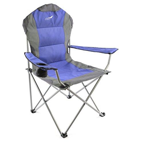 Divero Deluxe Campingstuhl blau grau Faltstuhl Angelstuhl gepolstert extra breit bis 130 kg