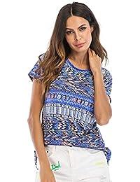8fa80f1b1 HhGold S Mujeres Impresión Elasticidad Slim Fit Camiseta de Manga Corta con  Cuello Redondo Camiseta de Manga Corta (Color   Azul