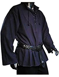 Medieval Pirate LARP Front Lacing Shirt, Blue