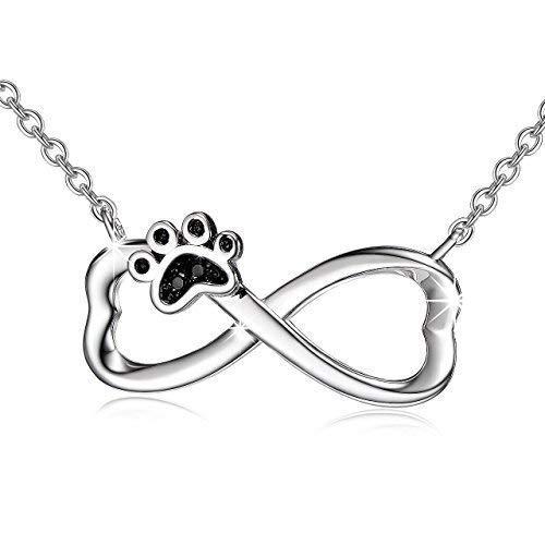 3f995f5a2ee7 Plata de Ley 925 perro cachorro Paw infinito colgante collar con cadena de  18