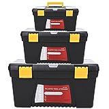 Creine 3 pcs Werkzeugkasten leer | Werkzeugkiste set | Werkzeugbox mit faltbarem Griff aus Kunststoff 40.5 x 22.6 x 20.9cm